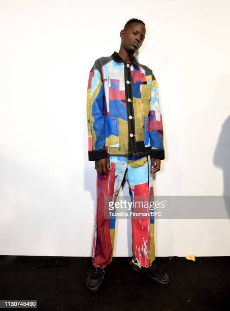 A model backstage ahead of the Bethany Williams show during London Fashion Week February 2019 at the BFC Show Space on February 19 2019 in London...