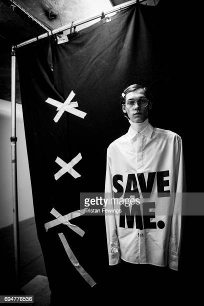 A model backstage ahead of the Blood Brother show during the London Fashion Week Men's June 2017 collections on June 10 2017 in London England