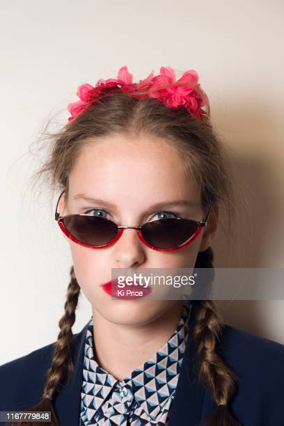 Model backstage ahead of the BORA AKSU show during London Fashion Week September 2019 at the BFC Show Space on September 13, 2019 in London, England.