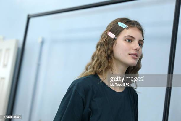 Model backstage ahead of the Bora Aksu show during London Fashion Week February 2020 on February 17, 2020 in London, England.