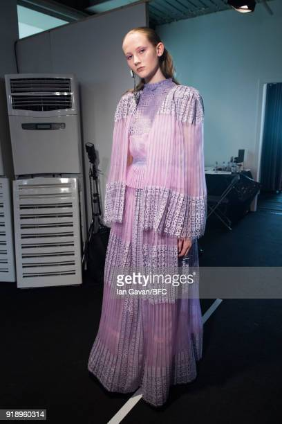 Model backstage ahead of the Bora Aksu show during London Fashion Week February 2018 at BFC Show Space on February 16, 2018 in London, England.
