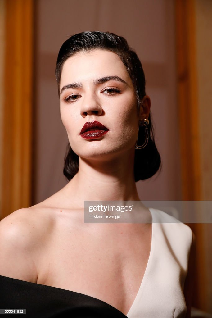 A model backstage ahead of the Burce Bekrek show during Mercedes-Benz Istanbul Fashion Week March 2017 at Grand Pera on March 20, 2017 in Istanbul, Turkey.