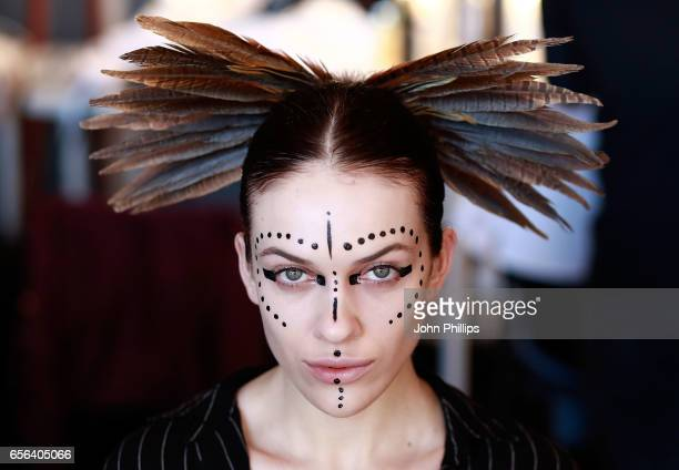 A model backstage ahead of the Ceren Ocak show during MercedesBenz Istanbul Fashion Week March 2017 at Grand Pera on March 22 2017 in Istanbul Turkey