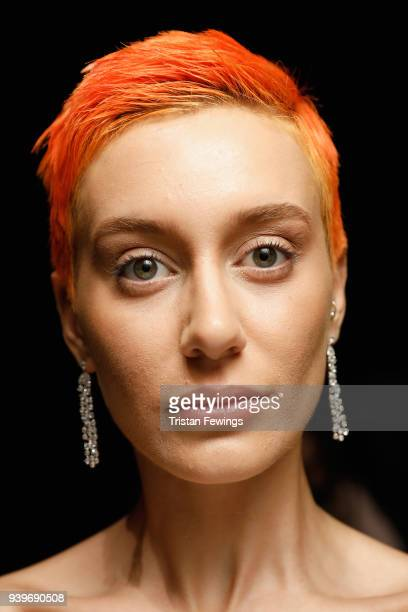 A model backstage ahead of the Cigdem Akin show during Mercedes Benz Fashion Week Istanbul at Zorlu Performance Hall on March 29 2018 in Istanbul...