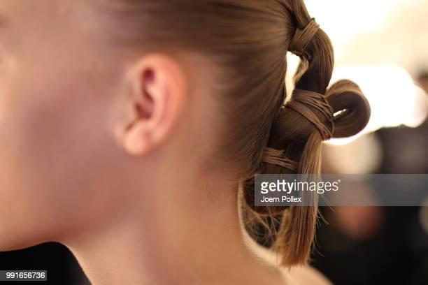 A model backstage ahead of the Danny Reinke show during the Berlin Fashion Week Spring/Summer 2019 at ewerk on July 4 2018 in Berlin Germany