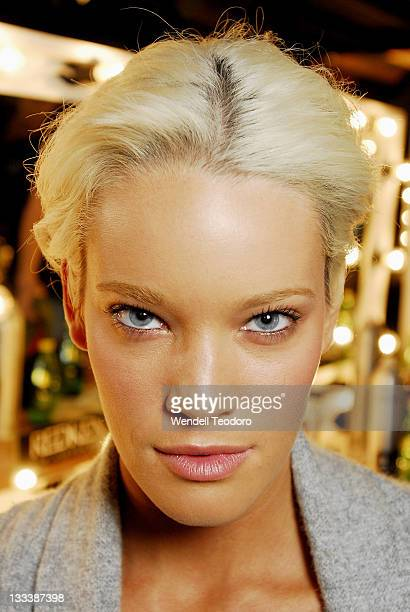Model backstage ahead of the David Lawrence show at the Rosemount Sydney Fashion Festival Marquee, Martin Place on August 13, 2008 in Sydney,...