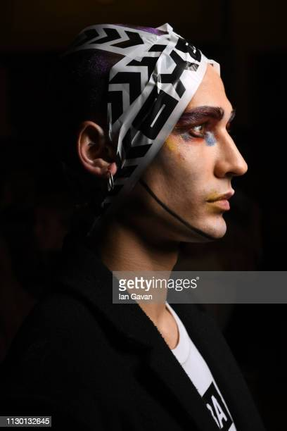 A model backstage ahead of the DB Berdan show during London Fashion Week February 2019 on February 16 2019 in London England