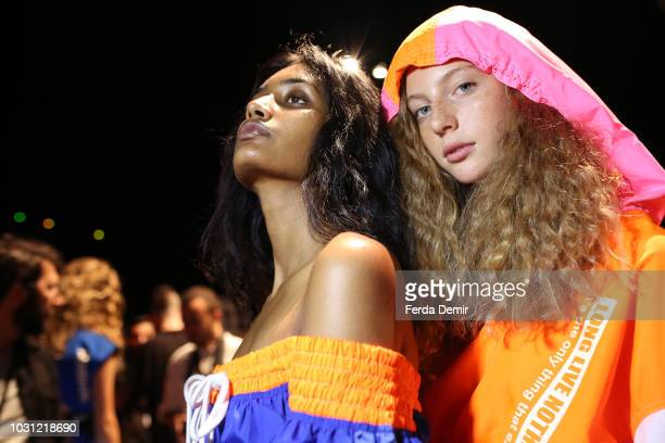 A model backstage ahead of the DB Berdan show during the MercedesBenz Istanbul Fashion Week at Zorlu Performance Hall on September 11 2018 in...