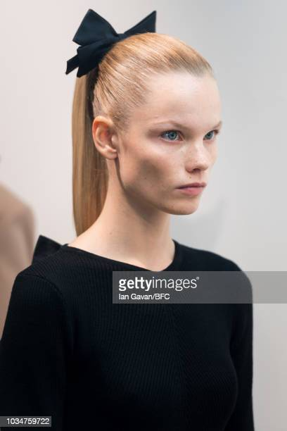 A model backstage ahead of the Emilia Wickstead show during London Fashion Week September 2018 on September 17 2018 in London England