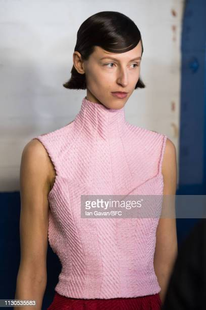 A model backstage ahead of the Emilia Wickstead show during London Fashion Week February 2019 at the Le Caprice on February 18 2019 in London England