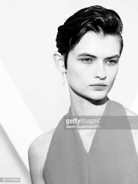 A model backstage ahead of the Emilia Wickstead show during London Fashion Week February 2018 at Great Portland Street on February 19 2018 in London...