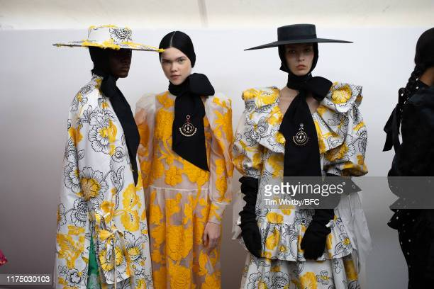 Model backstage ahead of the Erdem show during London Fashion Week September 2019 on September 16, 2019 in London, England.