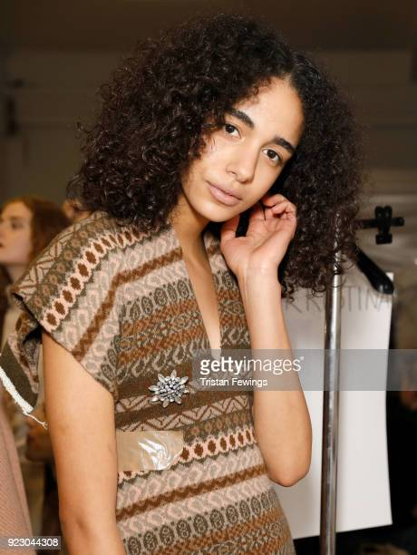 A model backstage ahead of the Erika Cavallini show during Milan Fashion Week Fall/Winter 2018/19 on February 22 2018 in Milan Italy