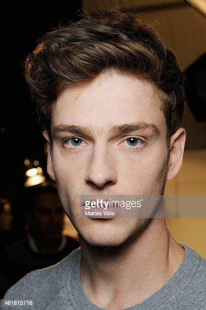 A model backstage ahead of the Ermanno Scervino Milan Menswear Fashion Week Fall Winter 2015/2016 on January 20 2015 in Milan Italy