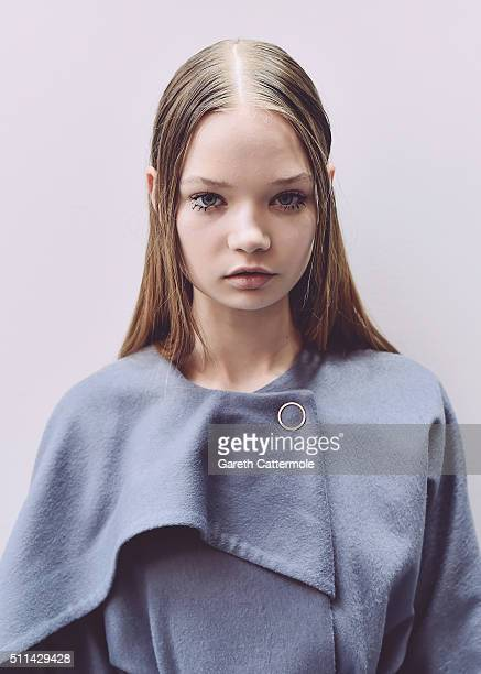 A model backstage ahead of the Eudon Choi show during London Fashion Week Autumn/Winter 2016/17 at Brewer Street Car Park on February 19 2016 in...