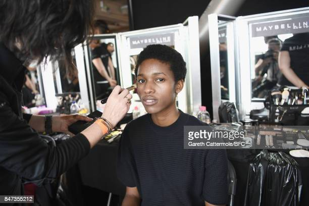 A model backstage ahead of the FYODOR GOLAN show during London Fashion Week September 2017 on September 15 2017 in London England