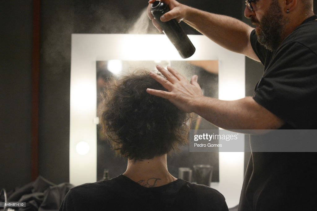 A model backstage ahead of the Giovane Gentile show during Mercedes-Benz Istanbul Fashion Week September 2017 at Zorlu Center on September 13, 2017 in Istanbul, Turkey.