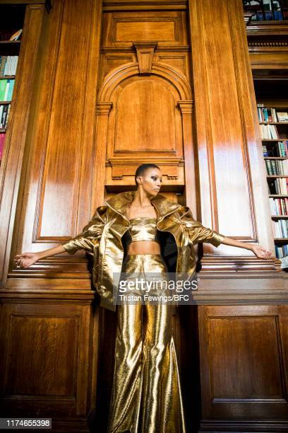 Model backstage ahead of the Halpern show during London Fashion Week September 2019 on September 14, 2019 in London, England.