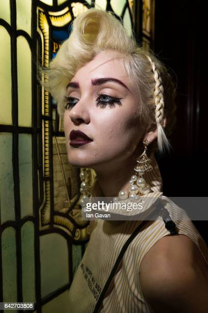 Model backstage ahead of the Han Wen show at Fashion Scout during the London Fashion Week February 2017 collections on February 18, 2017 in London,...