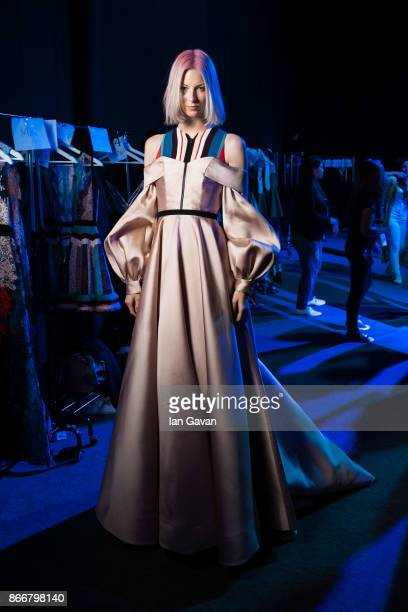 A model backstage ahead of the Hussein Bazaza show at Fashion Forward October 2017 held at the Dubai Design District on October 26 2017 in Dubai...