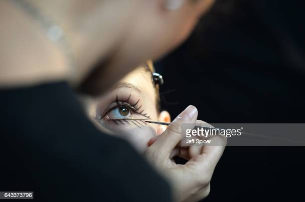 A model backstage ahead of the Isa Arfen presentation during the London Fashion Week February 2017 collections on February 21 2017 in London England