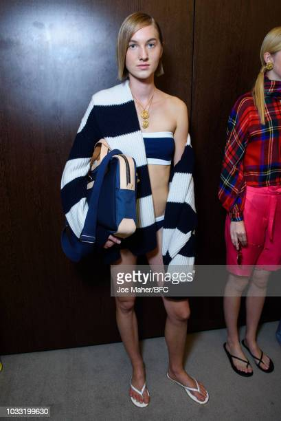 A model backstage ahead of the Johnstons of Elgin presentation during London Fashion Week September 2018 at Waldorf Hotel on September 14 2018 in...