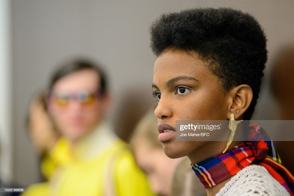 A model backstage ahead of the Johnstons of Elgin presentation during London Fashion Week September 2018 at Waldorf Hotel on September 14, 2018 in London, England.