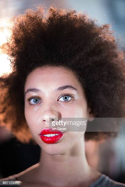 Model backstage ahead of the Katie Eary show during London Fashion Week Men's January 2017 collections at BFC Show Space on January 7, 2017 in...