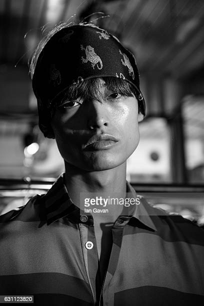 A model backstage ahead of the Katie Eary show during London Fashion Week Men's January 2017 collections at BFC Show Space on January 7 2017 in...