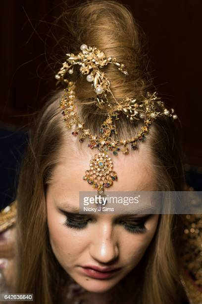 A model backstage ahead of the Limkokwing University show at Fashion Scout during the London Fashion Week February 2017 collections on February 17...