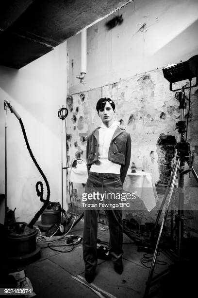 Model backstage ahead of the MAN - Art School show during London Fashion Week Men's January 2018 at Old Selfridges Hotel on January 7, 2018 in...
