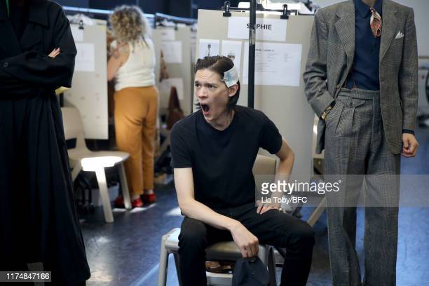 A model backstage ahead of the Margaret Howell show during London Fashion Week September 2019 at Rambert on September 15 2019 in London England