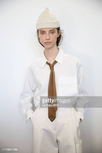 Model backstage ahead of the Margaret Howell show during London Fashion Week September 2019 at Rambert on September 15, 2019 in London, England.
