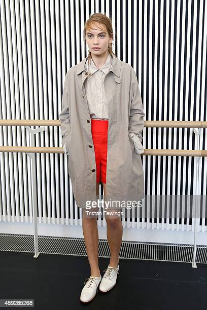 A model backstage ahead of the Margaret Howell show during London Fashion Week Spring/Summer 2016 on September 20 2015 in London England