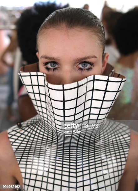 Model backstage ahead of the Marina Hoermanseder show during the Berlin Fashion Week Spring/Summer 2019 at ewerk on July 5, 2018 in Berlin, Germany.