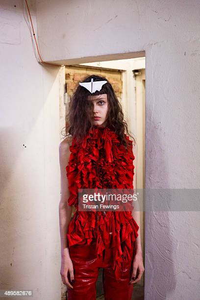 Model backstage ahead of the Marques'Almeida show during London Fashion Week Spring/Summer 2016 on September 22, 2015 in London, England.