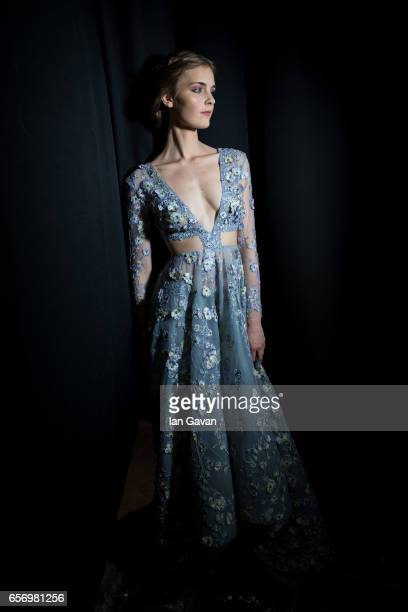 A model backstage ahead of the Michael Cinco show at Fashion Forward March 2017 held at the Dubai Design District on March 23 2017 in Dubai United...