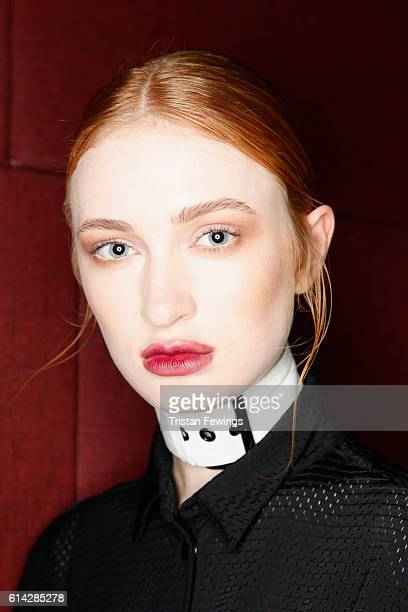 A model backstage ahead of the MiiN show during MercedesBenz Fashion Week Istanbul at Zorlu Center on October 13 2016 in Istanbul Turkey