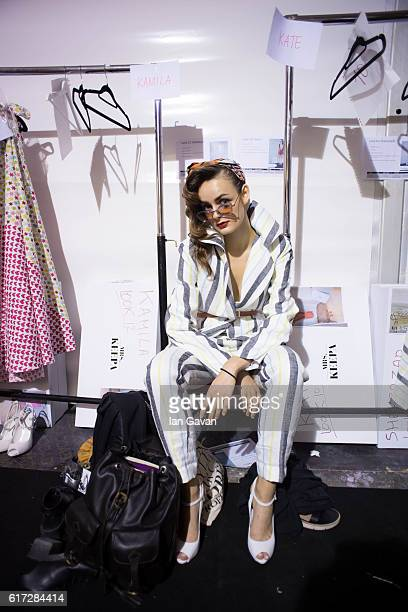 A model backstage ahead of the Mrs Keepa presentation during Fashion Forward Spring/Summer 2017 at the Dubai Design District on October 22 2016 in...