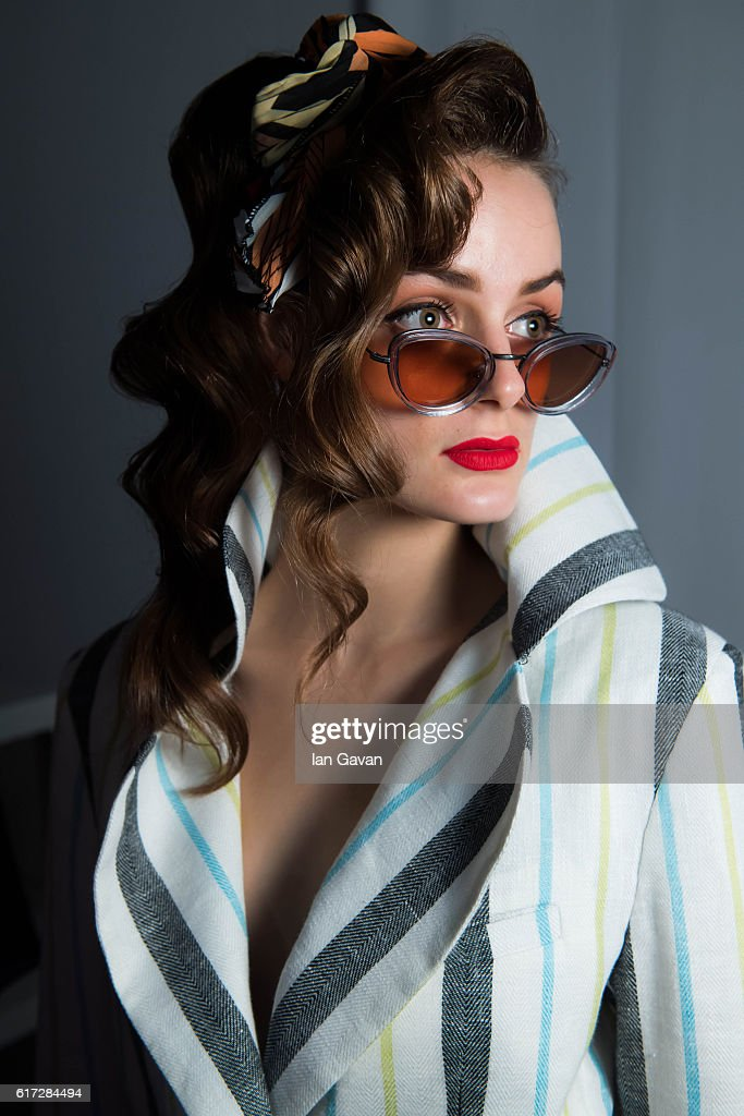 A model backstage ahead of the Mrs. Keepa presentation during Fashion Forward Spring/Summer 2017 at the Dubai Design District on October 22, 2016 in Dubai, United Arab Emirates.