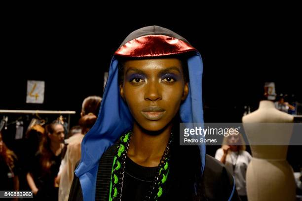 Model backstage ahead of the New Gen show during Mercedes-Benz Istanbul Fashion Week September 2017 at Zorlu Center on September 14, 2017 in...