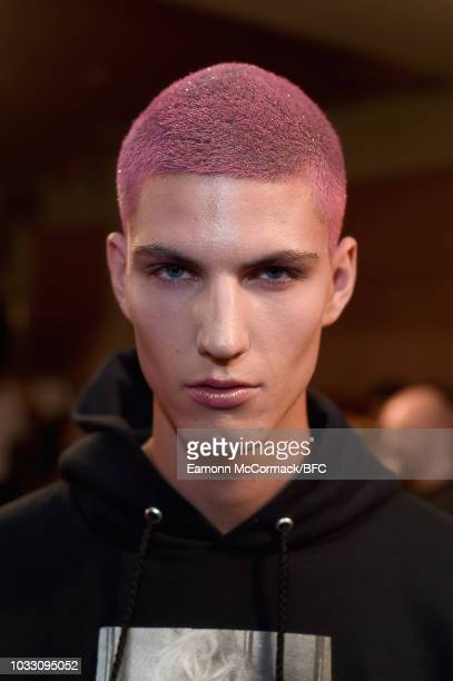 Model backstage ahead of the Nicopanda show during London Fashion Week September 2018 on September 14, 2018 in London, England.