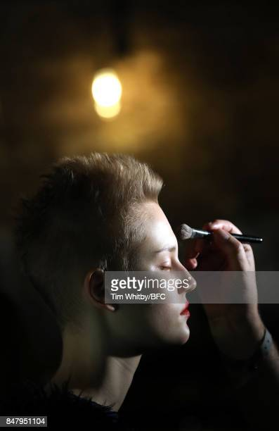 Model backstage ahead of the Nicopanda show during London Fashion Week September 2017 on September 16, 2017 in London, England.