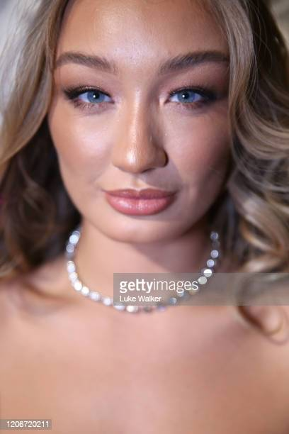 A model backstage ahead of the Oh Polly Fashion Show By Planet Fashion at London Fashion Week at The Royal Horseguards on February 16 2020 in London...