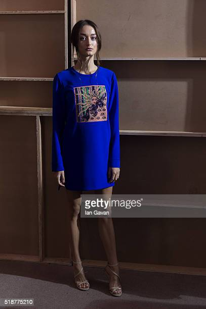A model backstage ahead of the Orkalia show during Fashion Forward Fall/Winter 2016 held at the Dubai Design District on April 2 2016 in Dubai United...