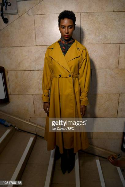A model backstage ahead of the palmer//harding ** show during London Fashion Week September 2018 at Goodenough College Mecklenburgh Square on...