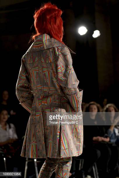 A model backstage ahead of the Pam Hogg Show during London Fashion Week September 2018 at Freemasons Hall on September 14 2018 in London England