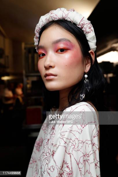 Model backstage ahead of the Paula Knorr show during London Fashion Week September 2019 at the on September 13, 2019 in London, England.