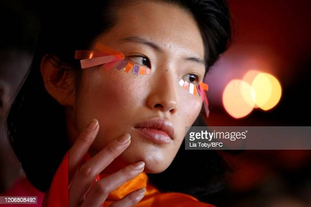 Model backstage ahead of the Paula Knorr show during London Fashion Week February 2020 on February 17, 2020 in London, England.
