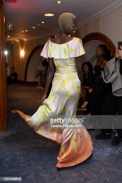 A model backstage ahead of the Peter Pilotto show during London Fashion Week September 2018 at The Hilton Mayfair on September 16 2018 in London...